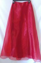 Jessica McClintock Gunne Sax Full Length Skirt Sz 3 Red Sheer Shiny Line... - $26.99