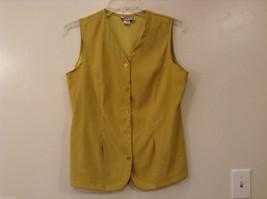 Synari Women's Size XL Vest Top Pea Soup Yellow-Green V Neck-Line Princess Seams