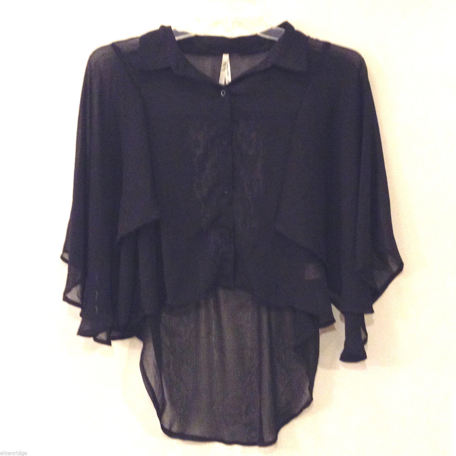 Truth NYC Women's M Sheer Black Blouse Top Dolman Sleeves Lace Panel High-Low