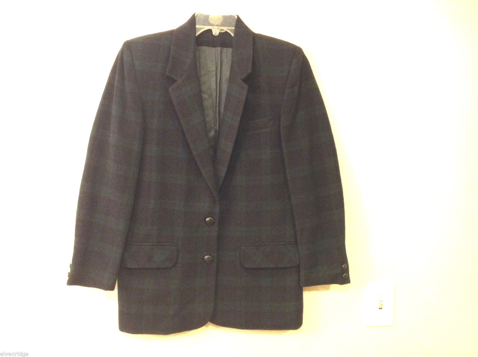 Tribal Women's Size L Plaid Check Coat Ultra Dark Navy Blue & Green Wool Fleece