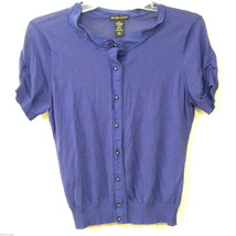 New York & Company Women's Size L Top Button-Front Shirt Purple-Blue Cap Sleeves