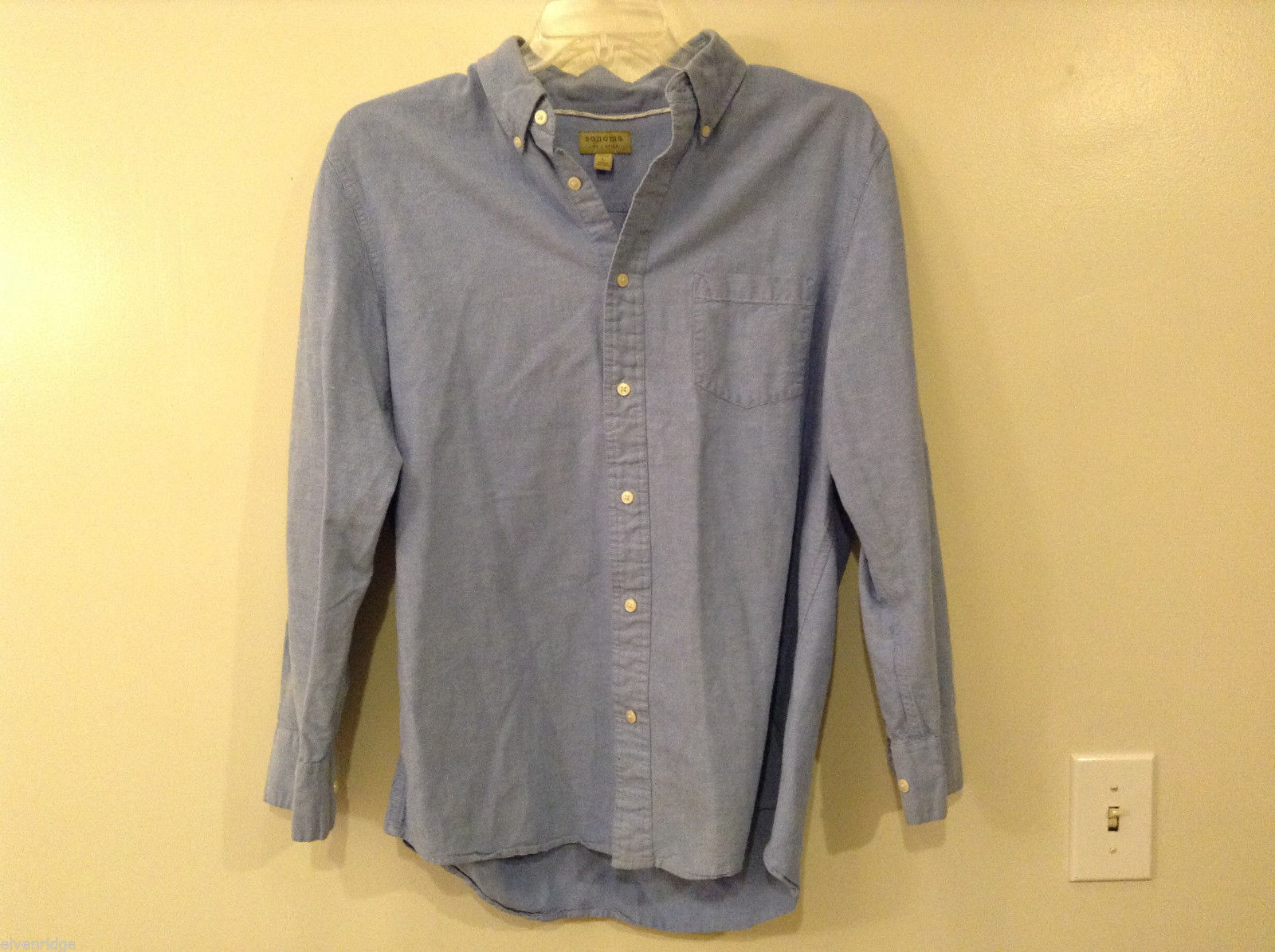 Sonoma Men's Size L Blue Oxford Cloth Button-Front Shirt OCBD Button-Down Collar