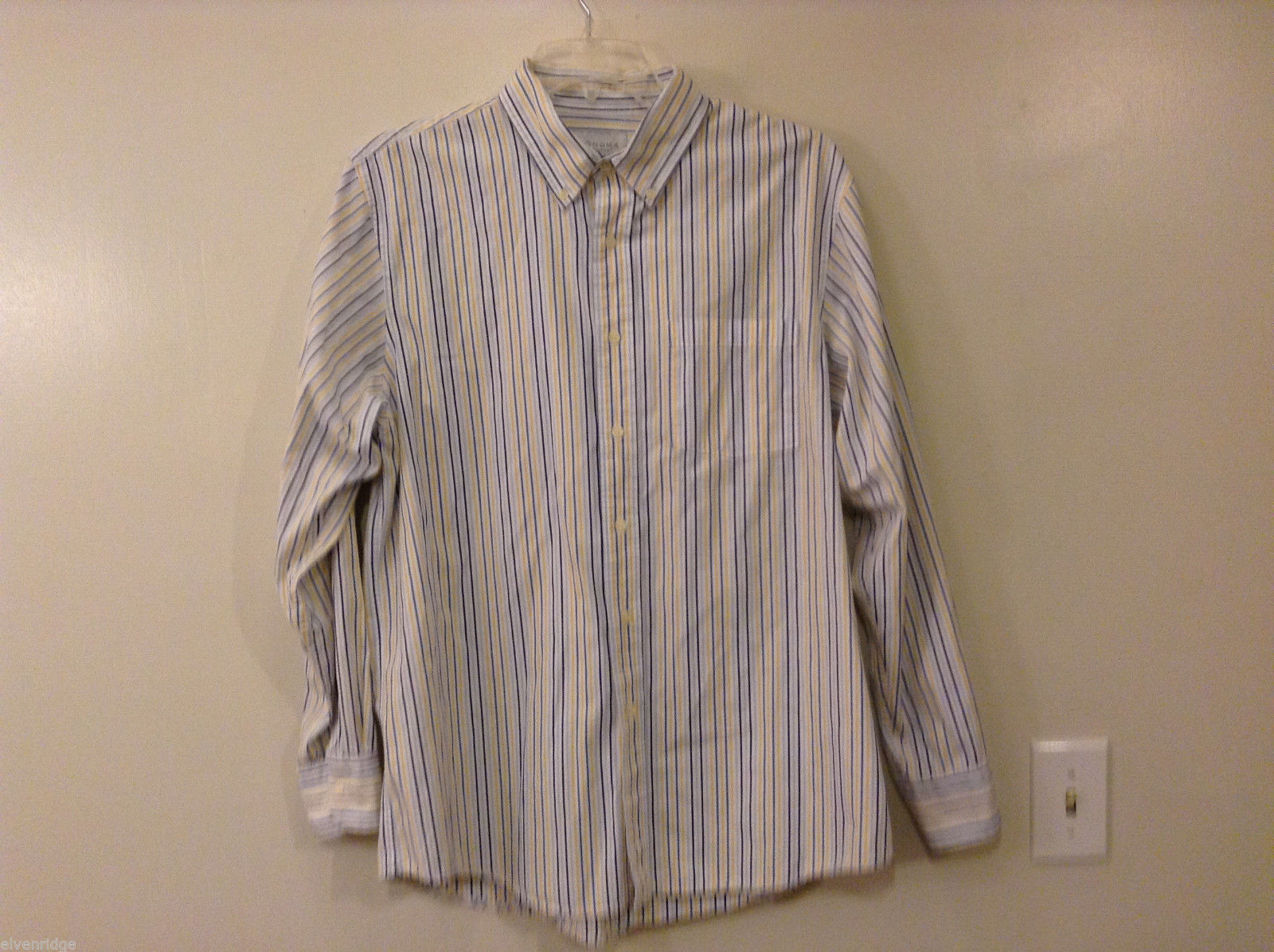 Sonoma Men's Size L Button-Down Point Collar Shirt White + Blue & Yellow Stripes
