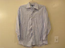 Tommy Hilfiger Men's Size L Button-Down Shirt Dress White Striped Blue & Brown