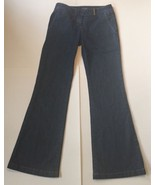 Tahari Wide Leg Flare Jeans 2 Dark Blue Denim Pants Cotton Blend Trouser - $8.31