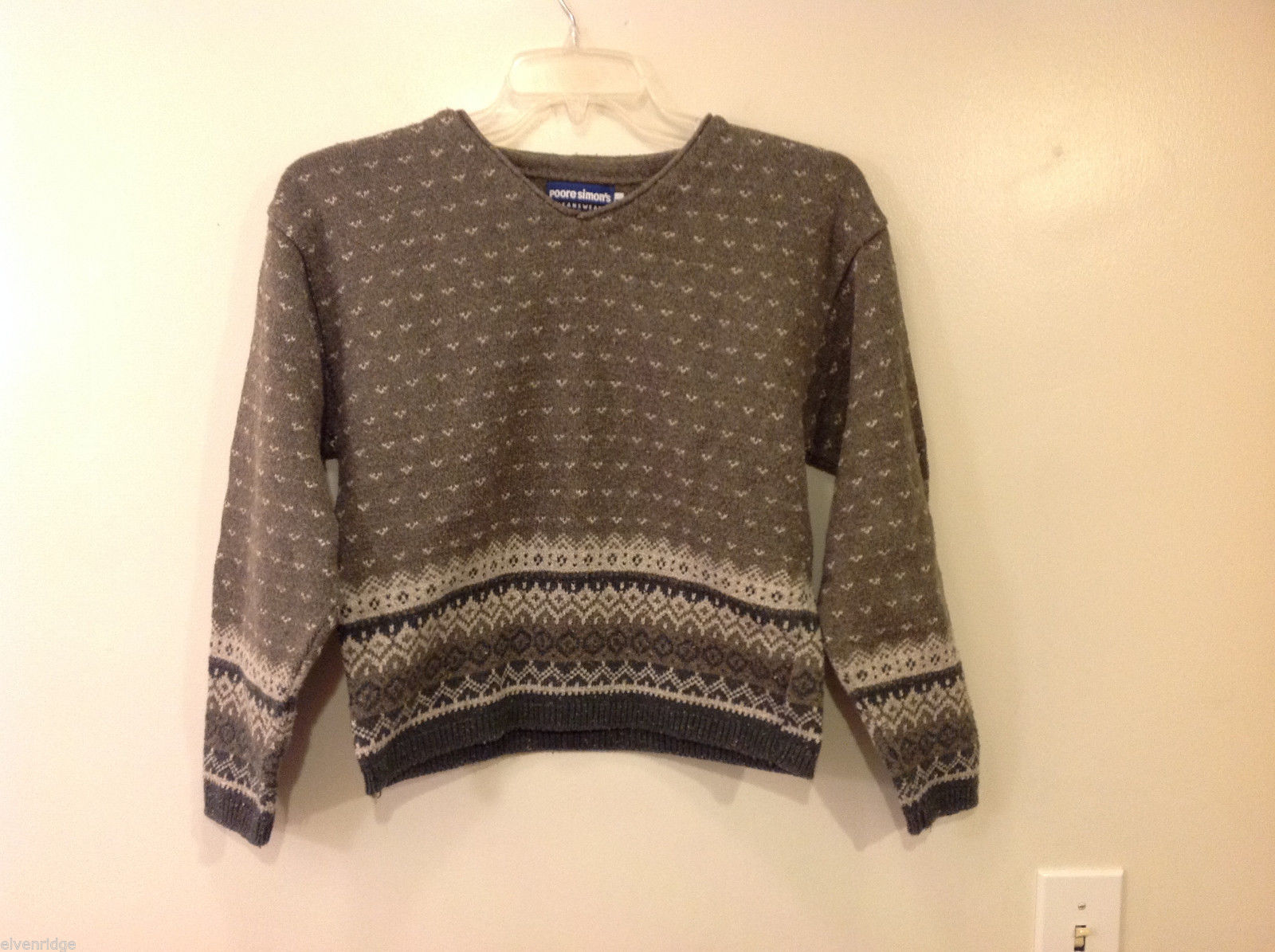 Women's Size L Sweater Nordic Fair Isle Gray Cotton Poore Simon's Jeanswear