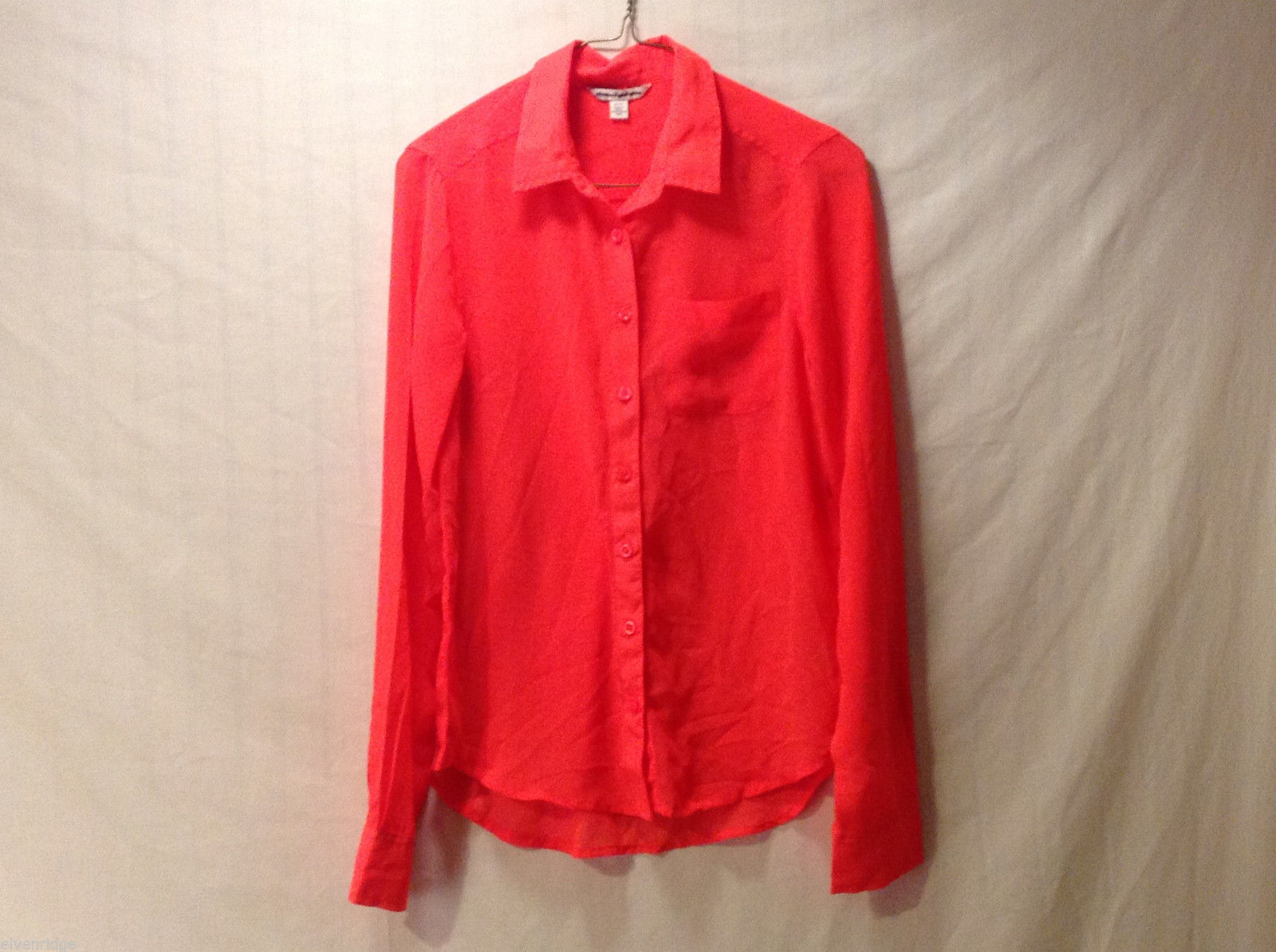 Women's Size XS Button-Down Shirt Coral Tomato Red American Eagle Outfitters AEO