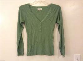 wearitdeclareit Women's Size L Green Top Ribbed Henley V-Neck Shirt Long Sleeves