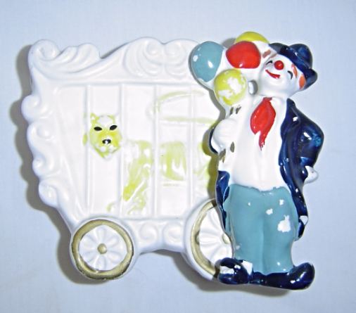 Vintage Ceramics Clown with Circus Car and Tiger Planter Vase
