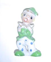Vintage Christmas Clown Boy w/Polka Dotted Outfit & Santa Hat Figurine Japan - $14.99