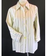 LANDS' END Size 24W Pink Green Stripe Cotton Sh... - $18.98