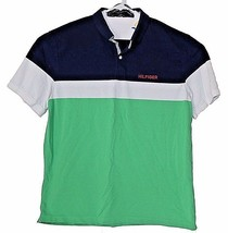 Tommy Hilfiger Polo Men's XXL Custom Fit Color block Green Blue White  - $44.99