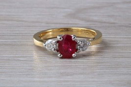Oval cut Ruby and Diamond set Yellow Gold Trilogy Ring  - $2,795.00