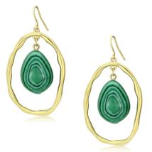 Women's Brass IP Gold Synthetic Green Turquoise Dangle & Drop Earrings - $12.94