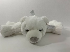 Aurora Polar Paws white plush bear silver ribbon bow lying down  - $19.79