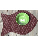 Fish-Shaped Cat Place Mat, Brown with Flowers - $5.00