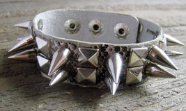 Faux Snake Skin Print Leather Spike Stud Wristband Wrap Bracelet Rock Fa... - $5.49