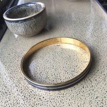 "Monet Blue Gold Stripe Cuff Bangle Bracelet 8.5 x 2.5 x 3/16"" Circular - $19.94"