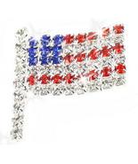 Rhinestone Crystal Sparkle American Flag Patriot Brooch Lapel Pin Silver... - $4.46