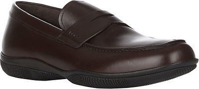 NIB PRADA Mens Brown Leather Apron Toe Penny Loafers Slip-Ons Shoes New 13 US