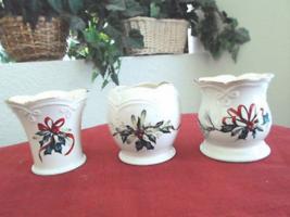 Set of 3 Lenox Christmas Winter Greetings Candle Holders - $24.99