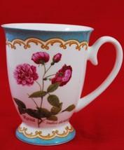 KENT POTTERY FOOTED COFFEE MUG - Roses - ROSA GALLICA OFFICINALIS - $29.21