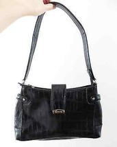 Liz Claiborne black faux leather crocodile alligator pattern SMALL bag purse - $9.99