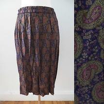 Talbots Petites size MEDIUM paisley pattern indigo olive magenta midi skirt - $14.94