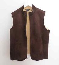 Lands' End size LARGE L/P (14-16) brown faux suede full zip vest shaggy ... - $29.98