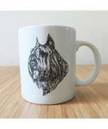 SCHNAUZER dog face head Illustration sketch drawing coffee mug cup pet l... - $19.99