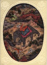 Indian Mughal Miniature Painting Hand Painted Moghul Empire Historical H... - $99.99