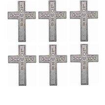 "Pocket Cross God Loves You, Silver Metal 1 1/2"" Tall Pack of 25 Crosses - $12.77"