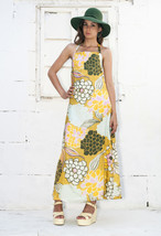 Yellow peony dress 80s halterneck summer maxi dress - $47.62