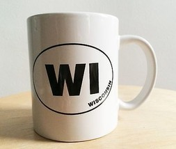 WI Wisconsin state bumper sticker coffee tea mug cup collectible white - $19.99