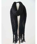 H&M black large oversize chunky knit scarf with fringe - VERY WORN OUT &... - $29.99