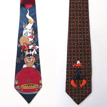 LOT OF 2 Looney Tunes tie Taz Daffy Duck Tweety Sylvester YosemiteSam Bu... - $19.99