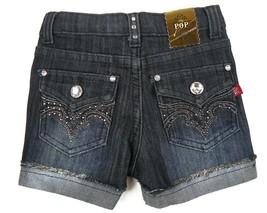 POP Jeans Denim Shorts Girl's 4-6X Embellished Fashion V-Design Short