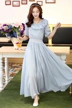 PF006 Elegant Bohemia lotus collar long dress, size m,l,xl blue - $39.90