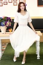 PF006 Elegant Bohemia lotus collar long dress, size m,l,xl WHITE - $39.90