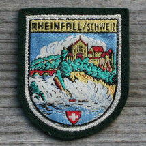 RHEINFALL Vintage Travel Patch SWITZERLAND Skiing Schweiz Hiking Felt - $11.60