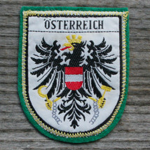 OSTERREICH Early Vintage Patch Travel AUSTRIA Ski Hiking Metallic Skiing... - $11.60