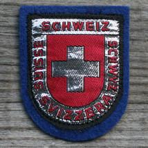 SWITZERLAND Early Vintage Ski Patch Travel Felt SWISS CROSS Metallic Thread - $12.55