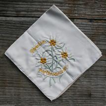 GARMISCH Vintage Ski Hanky Patch GERMANY Travel Handkerchief Partenkirchen - $14.46