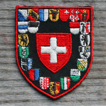 SWITZERLAND Vintage Ski Patch SWISS CROSS Cloth Cantons St Moritz Zermat... - $14.46