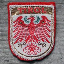 TIROL Vintage Ski Patch AUSTRIA Travel TYROL Red Felt Metallic Skiing Hi... - $10.65