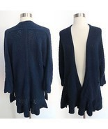 Anthropologie Guinevere size SMALL blue knit open front long cardigan sw... - £44.45 GBP