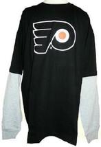 Philadelphia Flyers Shirt Men's NHL Hangdown Long Sleeve Hockey Tee Big & Tall