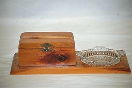 Old Vintage 1950s Wooden Handcrafted Cedar Trinket Box Glass Ashtray Rib... - $29.69