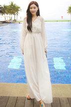 PF007 Elegant Bohemia long sleeve long dress, size s,m,l WHITE - $39.90