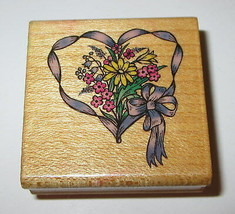 Ribbon Heart Rubber Stamp Daisies Flowers Comotion Bow Floral Wood Mounted  - $5.93